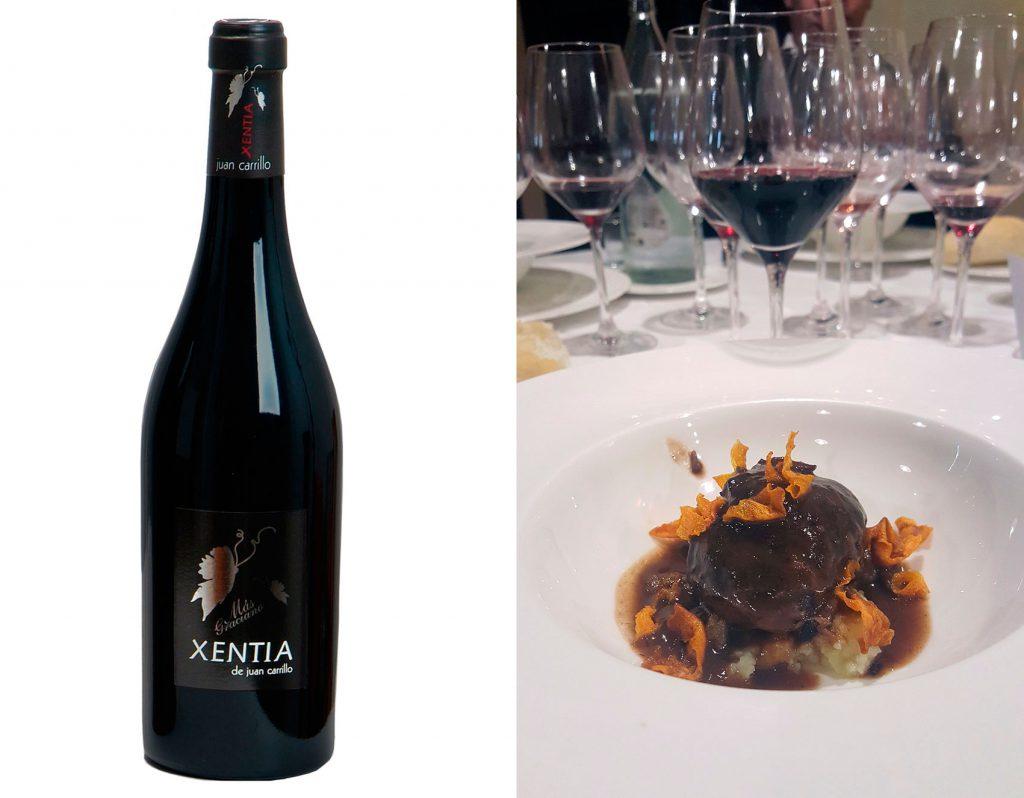 El Xentia con Carrilleras Ibéricas al vino tinto sobre crema de Patata